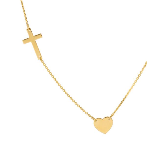 naszyjnik celebrytka krzyżyk z sercem
